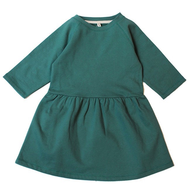 Pepe&Nika PepeandNika Gray Label Little Apparel Kids Baby Girl Dress with crew neck organic green summer