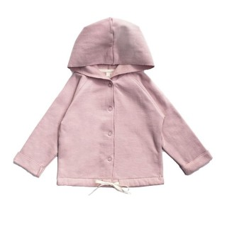 Pepe and Nika Gray Label Niederlande Babykleidung Kindermode Basics Organic fair-trade Baumwolle Baby Strickjacke Casual Kapuzenjacke rosa hooded cardigan