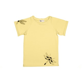 Pepe&Nika PepeandNika Kindermode Little Apparel Kids Fashion Tjorven Kids T-Shirt 'Yellow dragonfly' casual print vernal handmade organic yellow