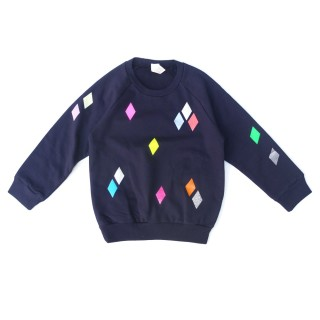 Pepe&Nika PepeandNika pom berlin kindermode little apparel sweater diamond kids funky casual navy autumnal winterly print