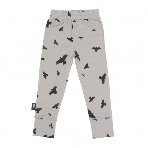 Pepe&Nika Pepe and Nika MÓI Iceland Little Apparel Kids Baby Leggings Grey Raven organic cotton comfortable bird print funky hipster