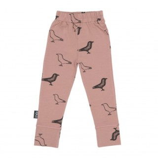 Pepe&Nika Pepe and Nika MÓI Iceland Little Apparel Kids Baby Leggings Dusty Rose Signature organic cotton comfortable bird print funky hipster