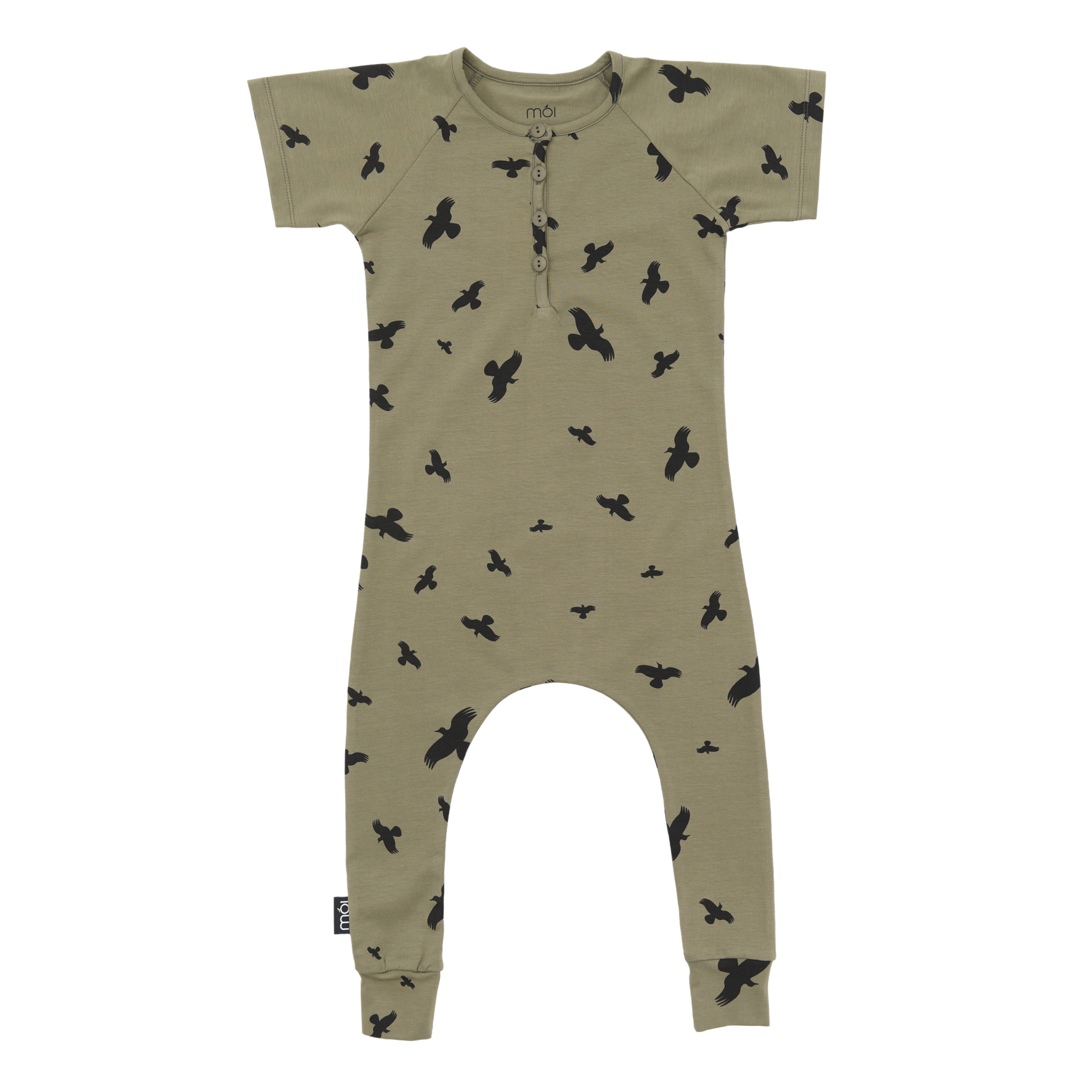 Pepe&Nika Pepe and Nika MÓI Iceland Little Apparel Baby sleeveless Overall Avocado Raven organic cotton olive green comfortable print funky hipster