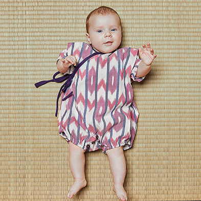 nayumi pepe and nika kimono onesie bordeaux handmade and handwoven cotton made in indonesia
