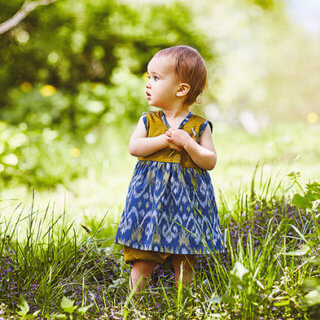 nayumi pepe and nika toddler dress with bloomers in blue gold handmade and handwoven cotton made in indonesia