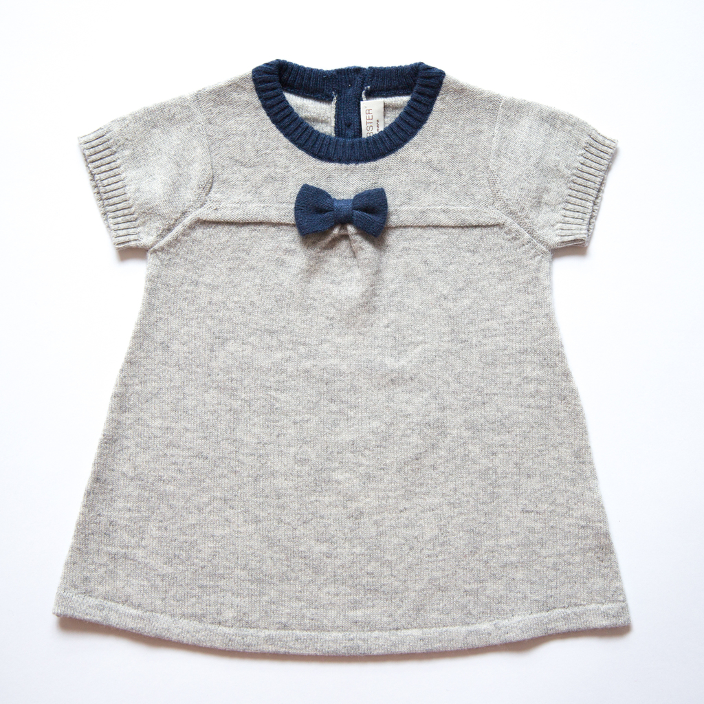 Pepe&Nika Pepe and Nika Papa Lobster Cashmere Little Apparel Germany jersey dress comfortable light grey soft cosy elegant festive bow