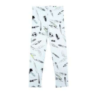 pepe and nika presents ateljee with white leggings with feather print made from organic cotton for boys and girls