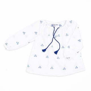 pepe and nika presents loulou des indes blue and white cotton blouse for girls