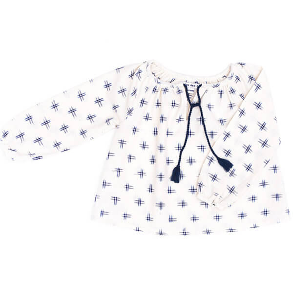 pepe and nika presents loulou des indes blue white indian cotton blouse for girls