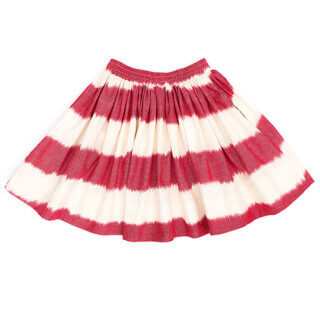 pepe and nika presents loulou des indes summery red white striped raspberry skirt made from cotton for lovely girls