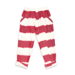 pepe and nika presents loulou des indes kids trousers with red stripes summer pants for boys and girls from cotton made in india