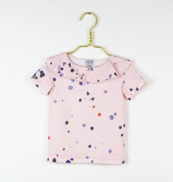 pepe and nika love kidswear coco t shirt for girls in pinkt with colorful pattern print