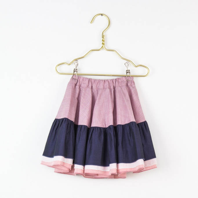 pepe and nika love kidswear summer circle skirt for girls in navy and pink