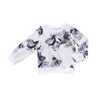 pepeandnika ateljee animal print sweatshirt white ogranic cotton from california for kids and babies design