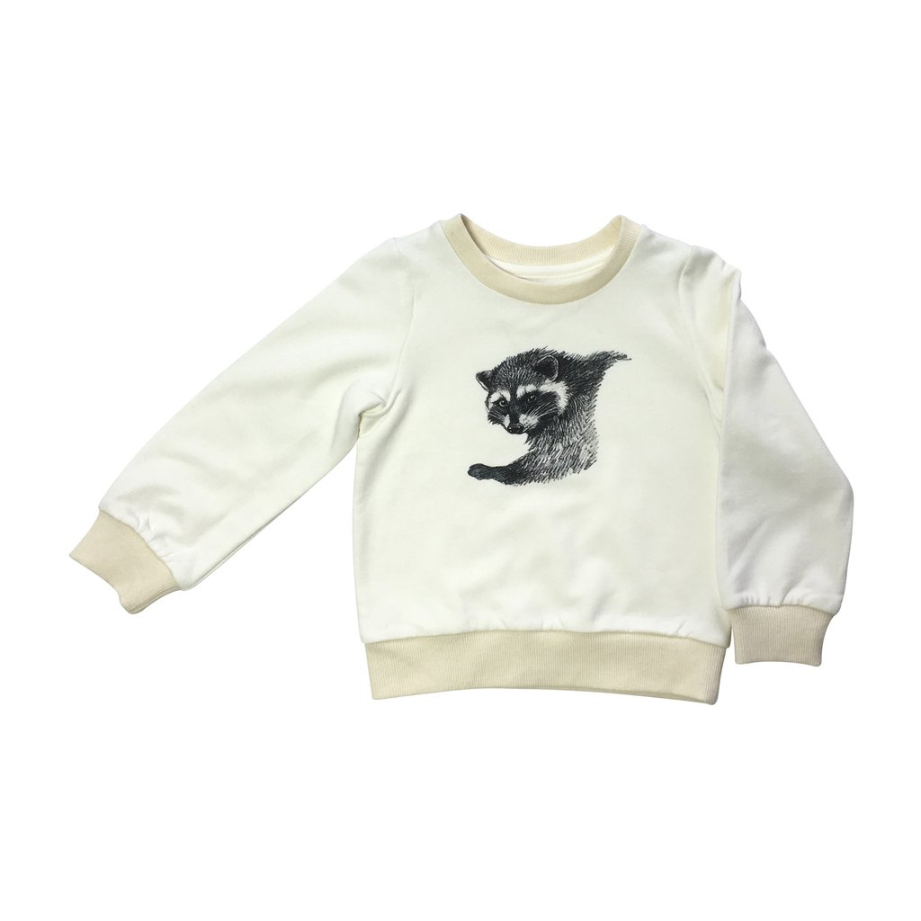 Pepe&Nika PepeandNika Kids Fashion Little Apparel Kindermode California Raccoon Sweatshirt Ateljee cream Pullover creme unisex autumnal vernal unisex print organic bio casual animal Tier toddler
