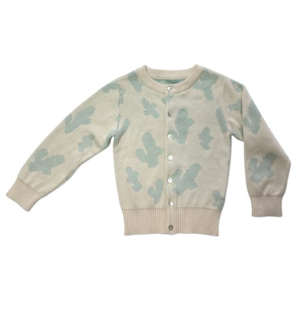 Pepe&Nika PepeandNika Kindermode Kids Fashion Little Apparel Ateljee California Scandinavia Knitted Cactus Cardigan turquoise cream türkis beige Mädchen girls Baby Strickjacke casual luxurious de luxe print Kaktus vernal frühlingshaft
