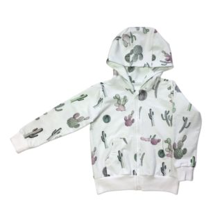 Pepeandnika ateljee white cactus hoodie unisex für babies and children organic cotton print autumnal vernal