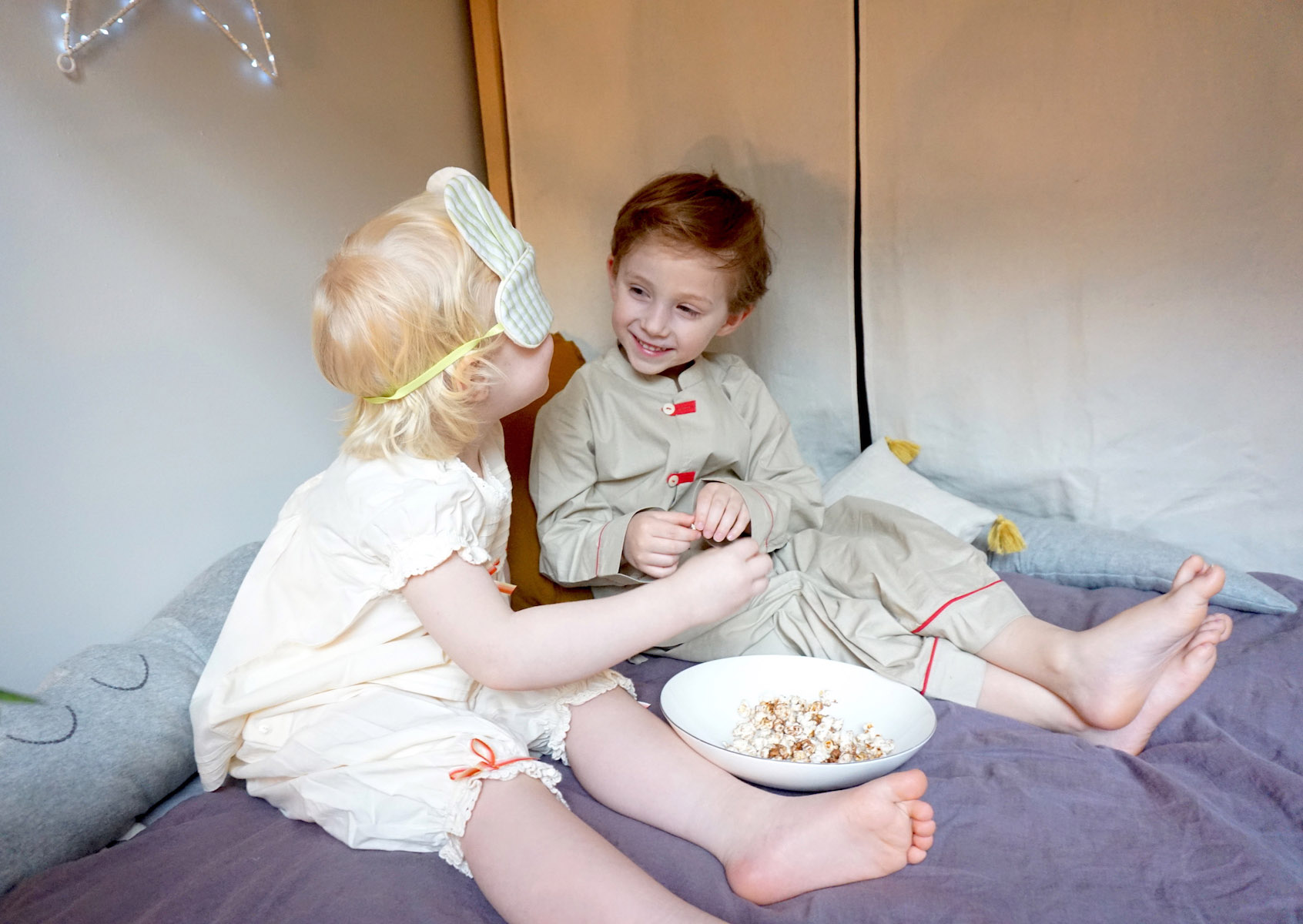 Pepe&Nika Celebration of first Pajama Party with beautiful nightwear by kidslabel Atticus and Gilda