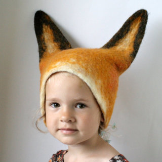 Pepe&Nika PepeandNika Kindermode Little Apparel Kids Fashion vaivanat Lithuania Lithauen Felt Fox Hat Filz Fuchs Hut Carnival Costume Faschingskostüm Verkleidung handmade handgemacht Realistic Fox Animal Hat with Ears / Hand Felted Wool - Unisex / Sizes for Toddler, Kid, Adult wool Wolle