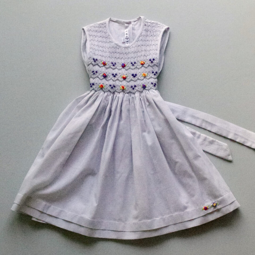 Pepe&Nika PepeandNika Little Apparel coquito Berlin Girls Smocked Dress Keanu grey embroidered bow elegant handmade fairtrade