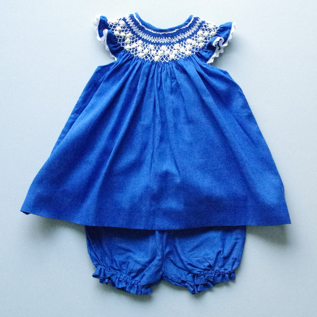 Pepe&Nika PepeandNika Little Apparel coquito Berlin Babies Girls Hand embroidered Dress arenui blue white summery springtime