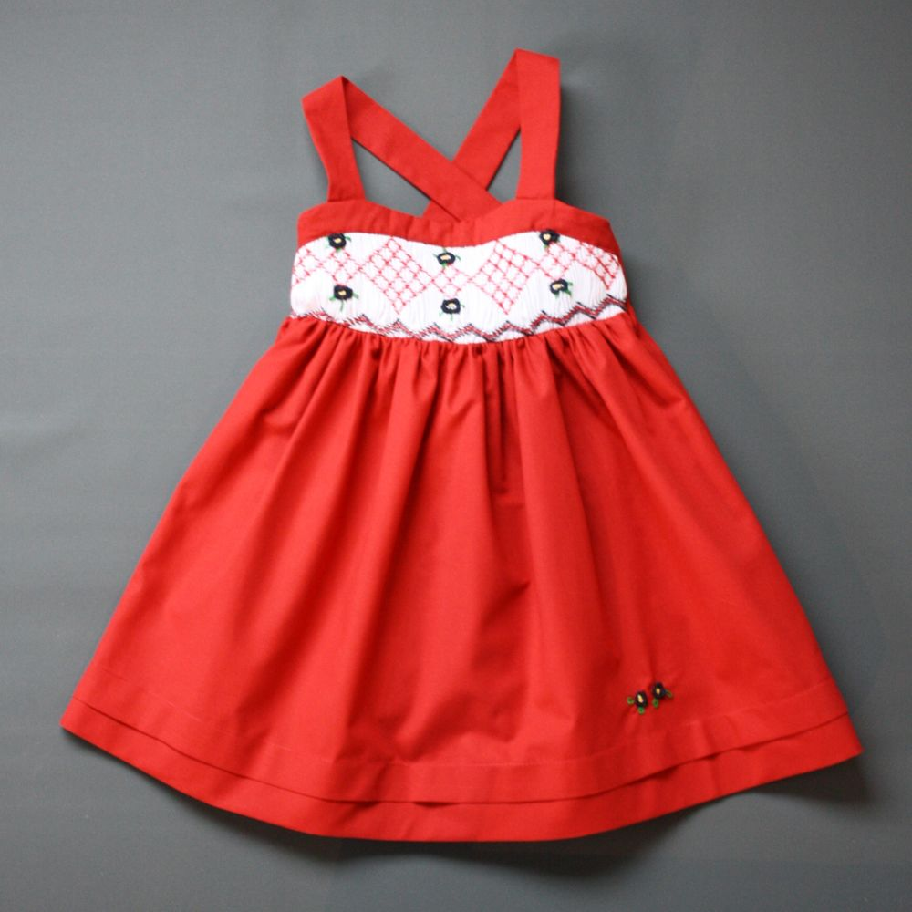 Pepe&Nika PepeandNika Little Apparel coquito Berlin Girls Smocked Sundress Tomatoes red embroidered elegant handmade fairtrade