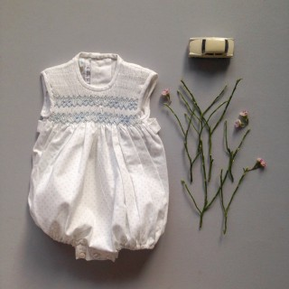 Pepe&Nika PepeandNika Little Apparel coquito Berlin Babies Girls Hand embroidered Summer Romper white