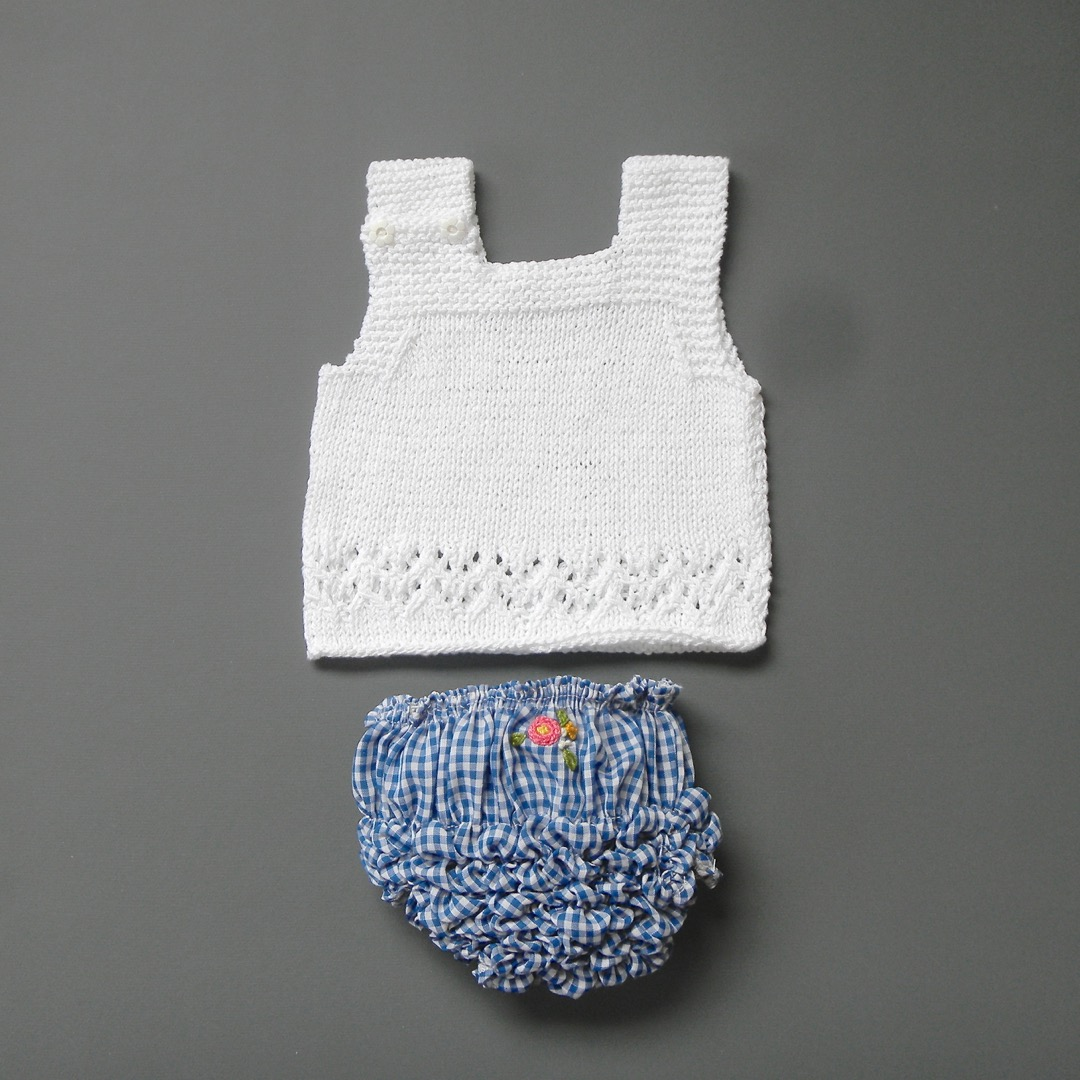 Pepe&Nika PepeandNika Little Apparel coquito Berlin Babies Girls hand knitted top white summery swimwear beachwear
