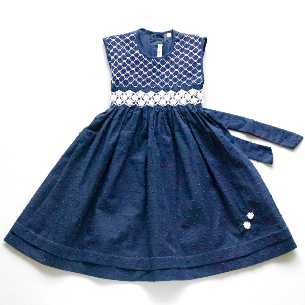 Pepe&Nika Pepe and Nika Coquito Little Apparel Berlin Argentina Girls Dress haeretua blue white hand embroidered