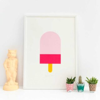 Pepe&Nika PepeandNika Little Apparel Kids Fashion Kindermode ENGEL. Screenprint Ice Cream Poster Eiscreme pink decorative Kids Space Kinderzimmer rosa Screenprint ice cream sommerlich summery