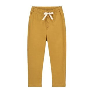 pepeandnika gray label summer trousers organic cotton for kids and babies in mustard basics