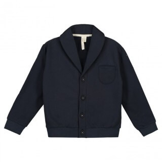 Pepe&Nika Pepeandnika Gray Label nederlands organic fairtrade bio shawl collar cardigan boys girls baby blue cotton