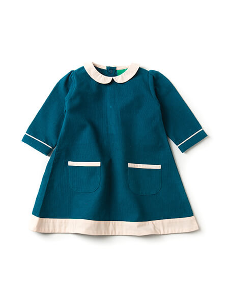 Pepe&Nika PepeandNika Little Green Radicals Little Apparel Kids Fashion UK AW 16/17 Corduroy Dress deep blue cute playful bio nostalgic fair-trade organic fairtrade autumnal retro Deep Blue Corduroy Tunic Dress festive