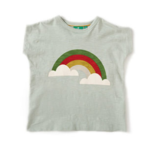 Pepe&Nika PepeandNika Little Green Radicals Kindermode UK HW 16/17 Baby Kids basics frühlingshaft sommerlich fairtrade fair-trade bio organic baumwolle T-shirt mit regenbogen Over The Rainbow Slub Jersey Tee mint grün kids mädchen jungen baby casual print