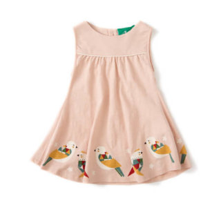 Pepe&Nika PepeandNika Little Green Radicals Kindermode UK HW 16/17 Origami Kleid Cloud Pink frühlingshaft sommerlich fairtrade fair-trade verspielt print bio organic Cloud Pink Origami Birds Story Time Sundress