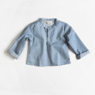 Pepe&Nika Pepe and Nika Littl by Lilit Berlin Little Apparel girls boys unisex cotton shirt zigzag handprinted blue white