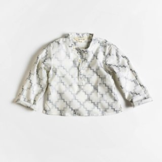 Pepe&Nika Pepe and Nika Littl by Lilit Berlin Little Apparel girls boys unisex patterned cotton shirt silver white handprinted