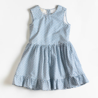 Pepe&Nika Pepe and Nika Littl by Lilit Berlin Little Apparel Classic Dress zigzag blue white doll cotton girls