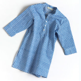 Pepe&Nika Pepe and Nika Littl by Lilit Berlin Little Apparel girls shirt dress zigzag print blue white airy summery comfortable