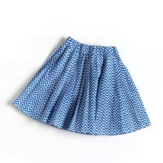 Pepe&Nika Pepe and Nika Littl by Lilit Berlin Little Apparel girls pleated skirt zigzag blue cotton white pattern