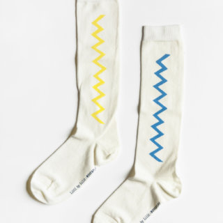 Pepe&Nika Pepe and Nika Littl by Lilit Berlin Little Apparel girls boys knee socks with zigzag print beige blue unisex