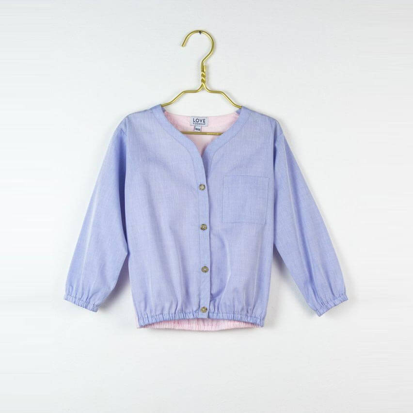 Pepe&Nika PepeandNika Little Apparel Kids Fashion Kindermode LOVE Kidswear Cotton Blouse light purple Bluse hellblau elegant casual sommerlich summery frühlingshaft vernal festive classical festlich klassisch Carlotta blouse in baby blue and pink