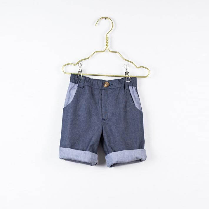 Pepe&Nika PepaandNika Little Apparel Kids Fashion Kindermode LOVE Kidswear Denim Shorts grey blue Jeans Shorts Jungen Baby plain sporty sportlich summery sommerlich casual Carlo shorts in greyish/blue lightweight denim