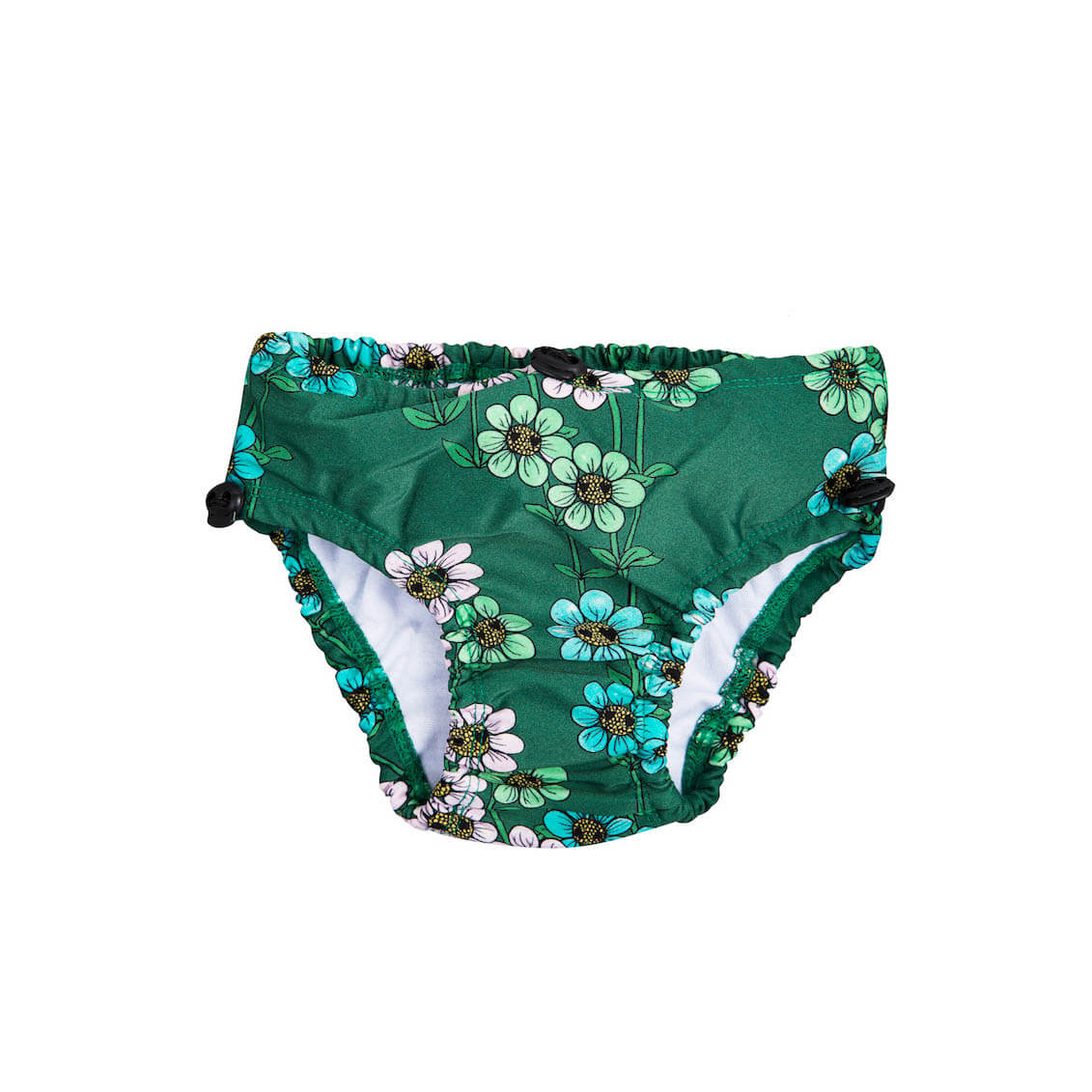 Pepe&Nika PepeandNika Mini Rodini Little Apparel Kids Fashion Kindermode Badehöschen Mädchen girls baby Daisy Swimpants dark green print casual summery sommerlich eco friendly recycled grün Daisy Baby Swimpants Dark Green Sweden Schweden