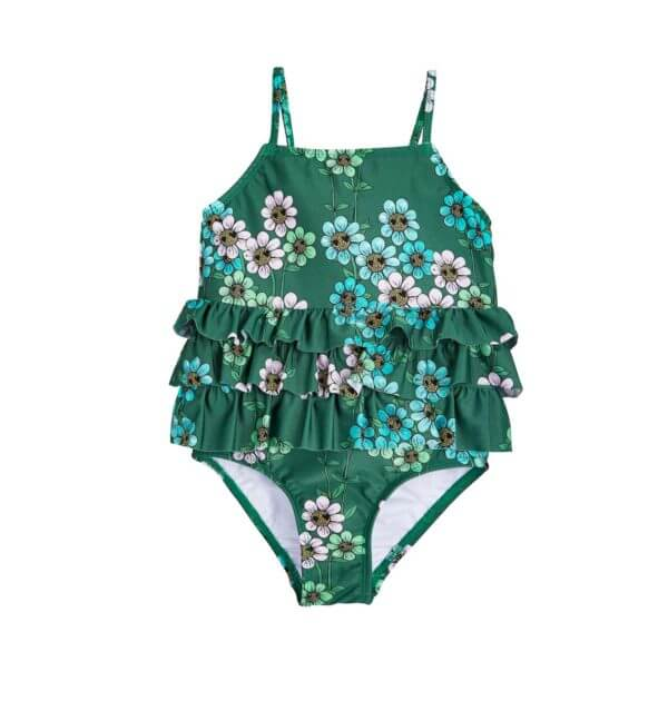 Pepe&Nika PepeandNika Mini Rodini Little Apparel Kids Fashion Kindermode Badeanzug Mädchen girls Daisy Swimsuit dark green print casual summery sommerlich eco friendly recycled grün Daisy Frill Swimsuit Dark Green Sweden Schweden
