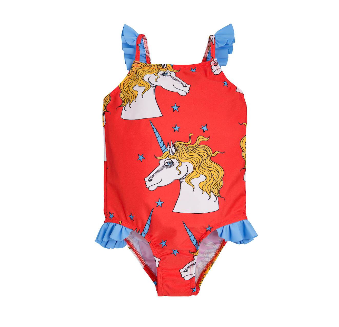 Pepe&Nika PepeandNika Mini Rodini Little Apparel Kids Fashion Kindermode Badeanzug Mädchen girls Unicorn Swimsuit red Einhorn print casual summery sommerlich eco friendly recycled rot Unicorn Star Wing Swimsuit Red Sweden Schweden