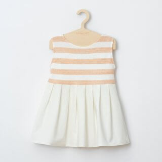 Pepe&Nika PepeandNika minimono Barcelona Little Apparel Kids Fashion Kindermode girls Mädchen Dress organic cotton Tweed Dress orange white weiss sommerlich summery print stripes Streifen Dress - Tweed