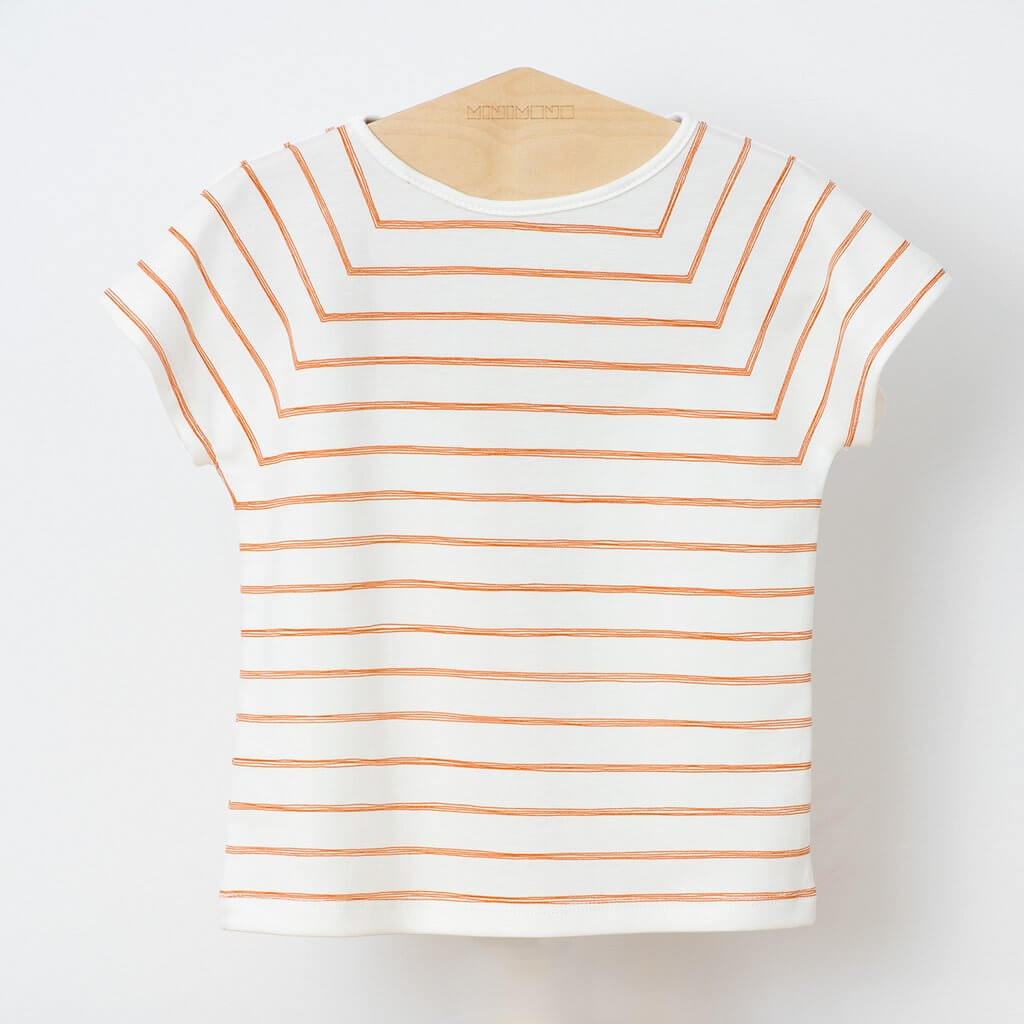 Pepe&Nika PepeandNika minimono Barcelona Little Apparel Kids Fashion Kindermode girls Mädchen boys Jungen T-Shirt Rayas orange white weiß gestreift striped print
