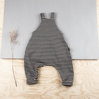 Pepe&Nika PepeandNika Little Apparel Kids Fashion MONKIND Berlin Striped Cotton Dungarees Stripy Dungarees casual organic bio fair-trade autumnal Babies Kids black&white