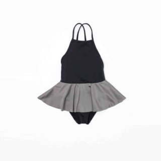 Pepe&Nika PepeandNika Little Apparel Kids Fashion Kindermode MOTORETA Spain Black schwarz Black Baby Swimsuit with Frill Badeanzug summery sommerlich chic schick elegant cute mädchenhaft Ballerina swimwear Bademode schwarz silber silver One piece Swimsuit. Black with Silver Frill
